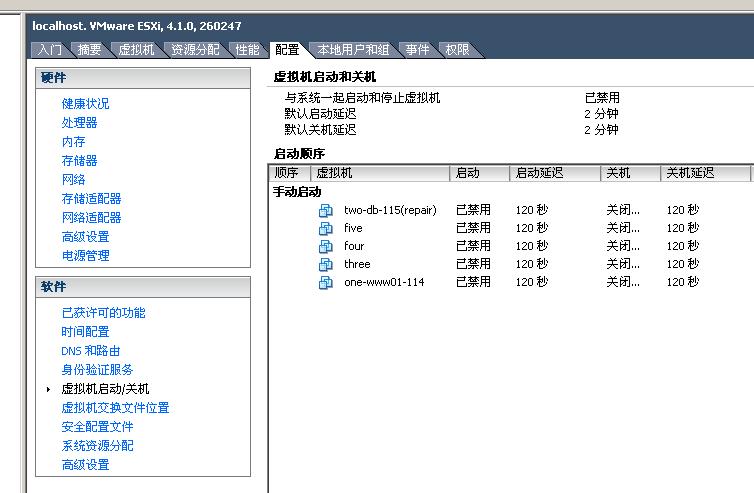 VMware vSphere 4/5/5.5 设置虚拟机随机 自动启动