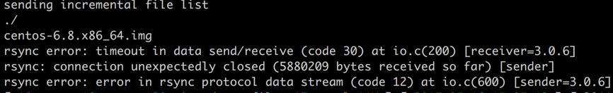 rsync error: timeout in data send/receive (code 30) at io.c(200) [receiver=3.0.6]