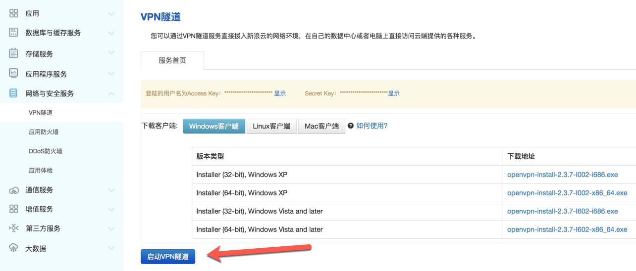 使用命令连接VPN隧道服务